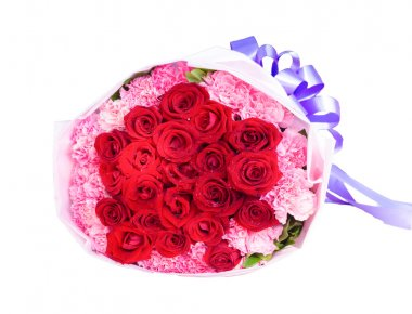 A bouquet of red roses isolated on white background