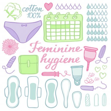 Feminine hygiene set. Hand-drawn cartoon collection of monthly period stuff. Vector illustration