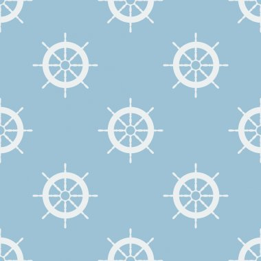 Seamless pattern with helm of ship. Vector illustration. Soft colors.