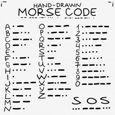 Hand-drawn doodle sketch. International Morse code isolated on white background and s.o.s. save our soules symbols.