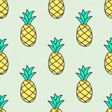 Seamless hand-drawn pattern with pineapple. Vector illustration.