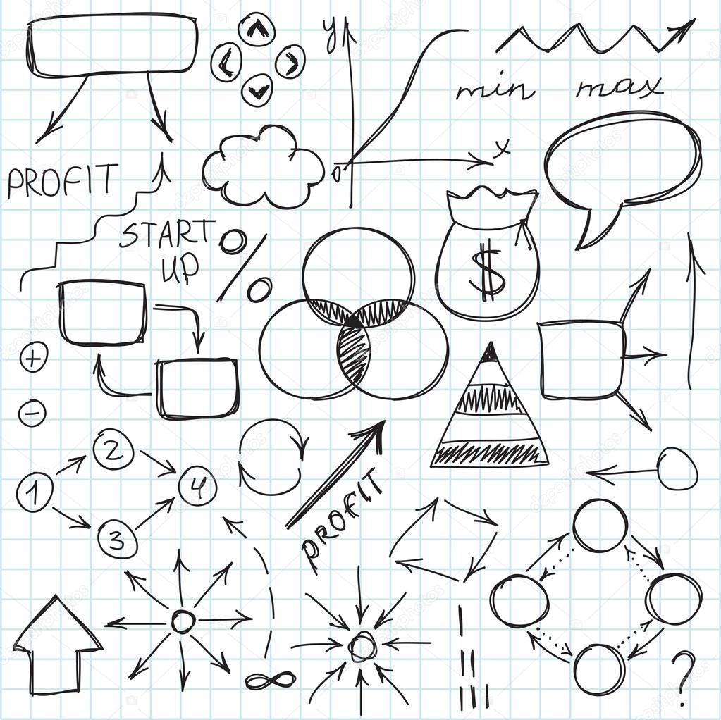 Set Of Simple Hand Drawn Signs And Symbols Sketch Or Doodle Vector