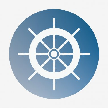 Pirate or sea icon, helm. Flat style vector illustration