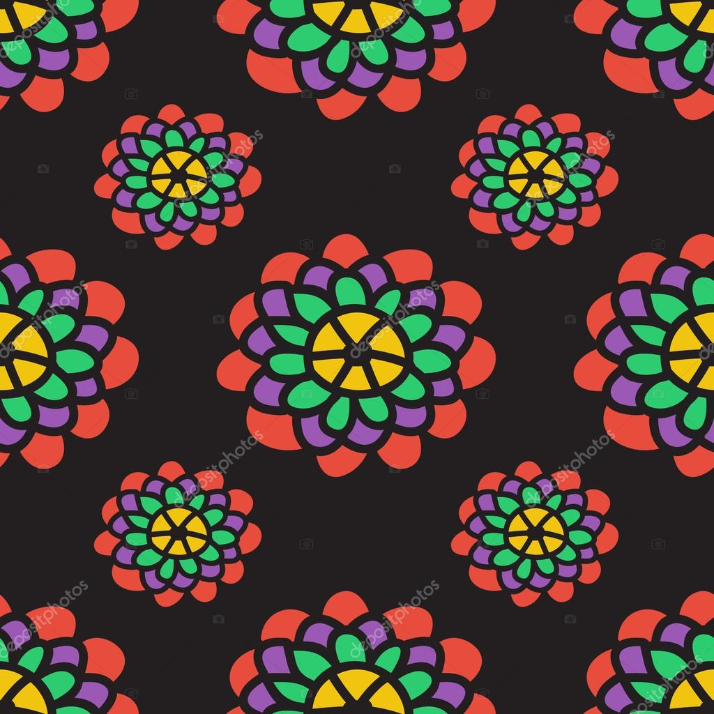 Abstract floral pattern with peonies. Vector illustration.
