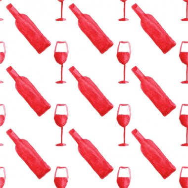 Seamless watercolor pattern with wine bottle and glass on the white background, aquarelle.  Vector illustration. Hand-drawn background.