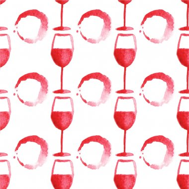 Seamless watercolor pattern with wine glass and stain on the white background, aquarelle.  Vector illustration. Hand-drawn background.