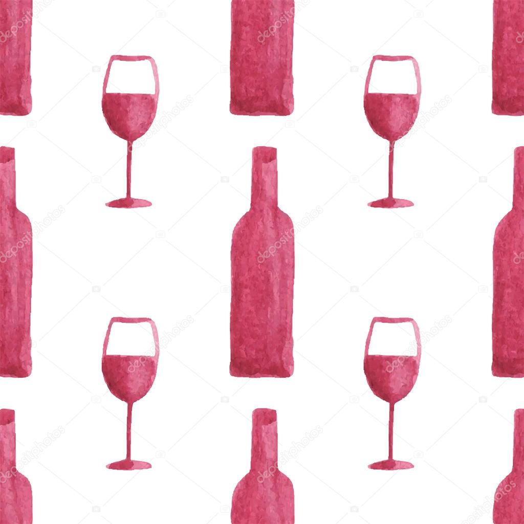 Seamless Watercolor Pattern With Wine Bottles And Glasses Aquarelle Vector Illustration Image By C Runlenarun Stock 70591747