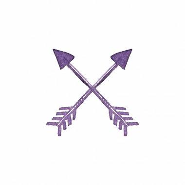 Crossed arrows. Native american indian arrow, traditional symbol. Simple watercolor element.