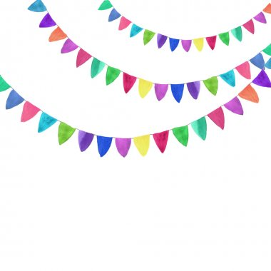Multicolored bright buntings garlands. Watercolor concept on the white background, aquarelle. Vector illustration.