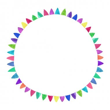 Multicolored bright circle. Watercolor concept on the white background, aquarelle. Vector illustration.