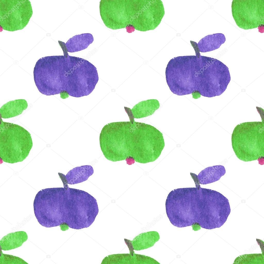 Seamless watercolor pattern with funny green and violet apples on the white background, aquarelle.  Vector illustration. Hand-drawn background.