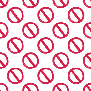 Watercolor seamless pattern with restriction sign on the white background, aquarelle pencil.  Vector illustration.