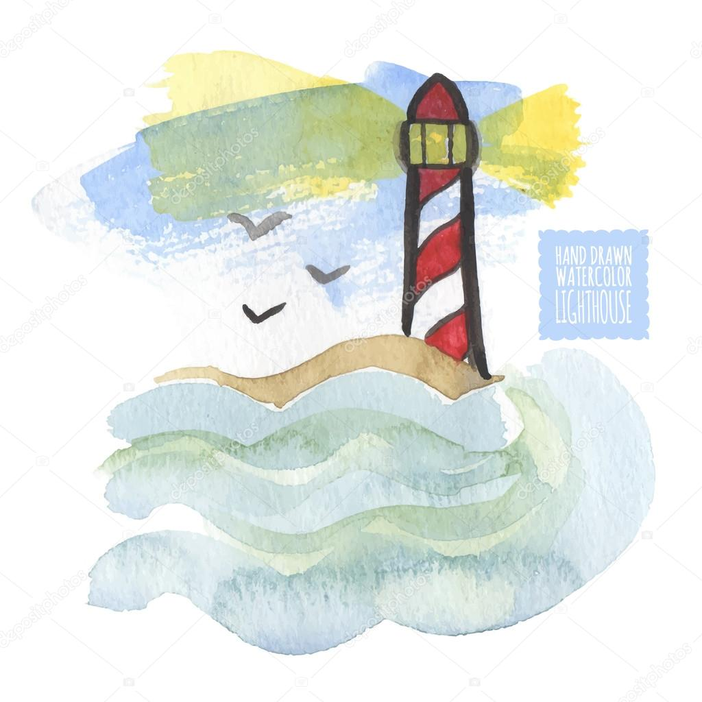 Watercolor print with lighthouse on the white background, aquarelle. Hand-drawn vector illustration.