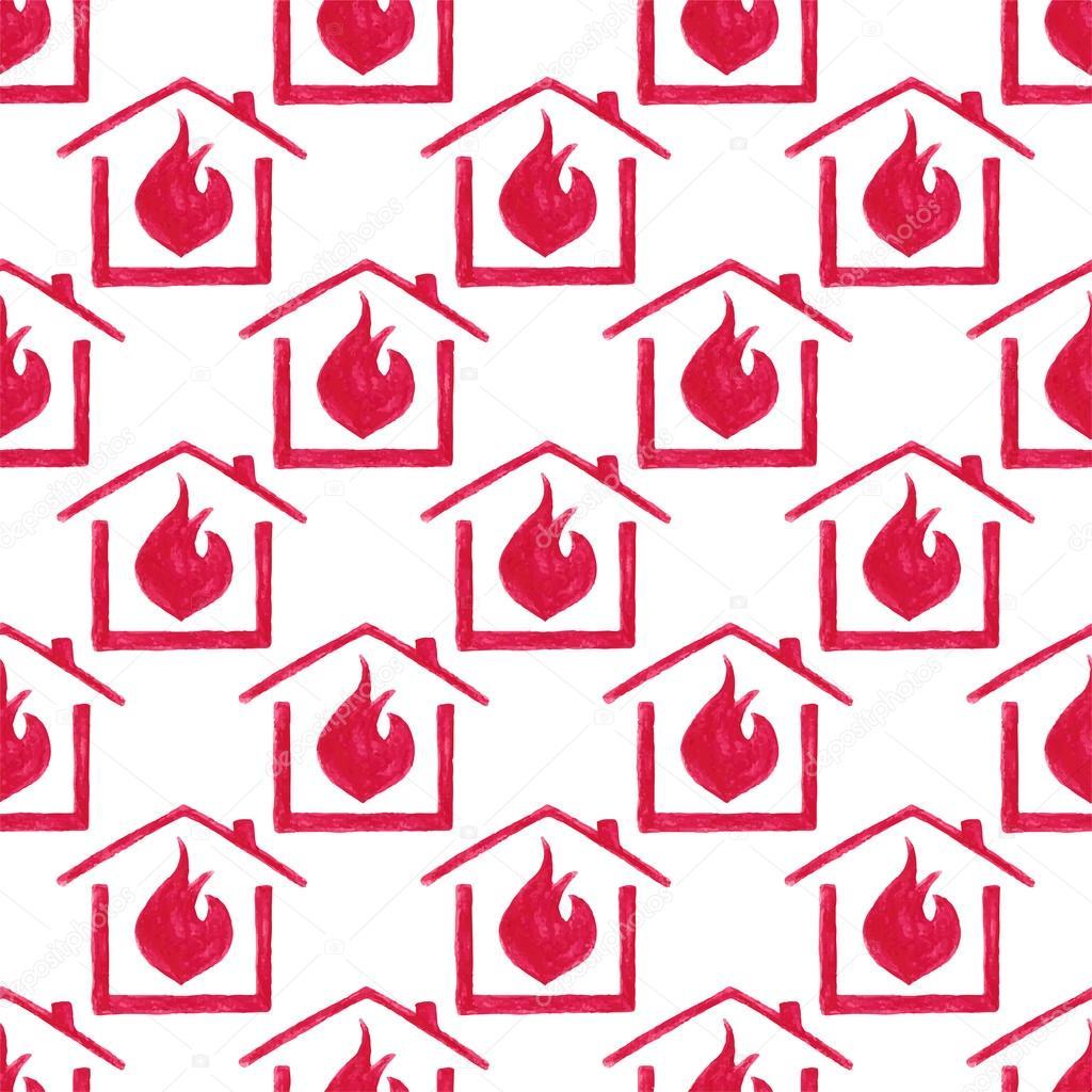 Aquarell Nahtlose Muster Mit Haus In Feuer Auf Dem Weissen