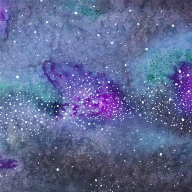 Galaxy or Milky Way. Watercolor space or cosmic background. Vector illustration.