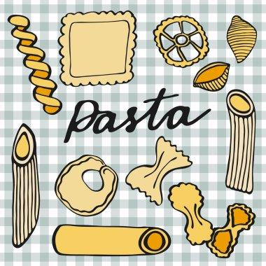 Pasta set. Hand-drawn cartoon kinds of pasta. Doodle drawing.