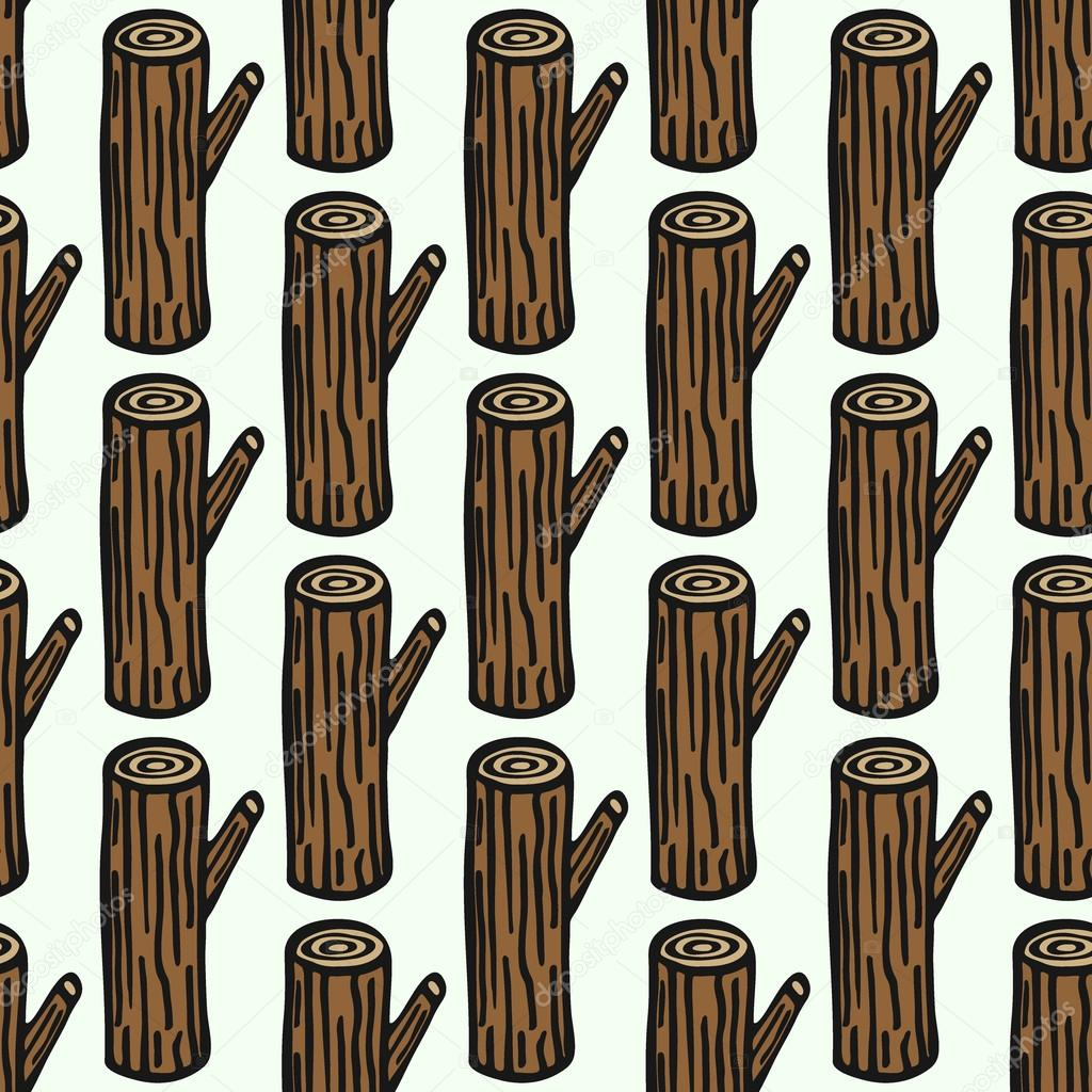 Log - wood and tools. Hand-drawn seamless cartoon pattern with timber. Vector illustration.