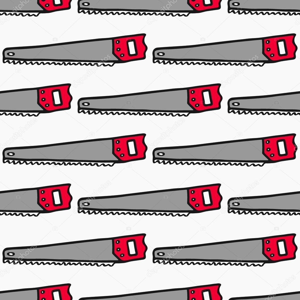 Hand saw - wood and tools. Hand-drawn seamless cartoon pattern with logging device. Vector illustration.
