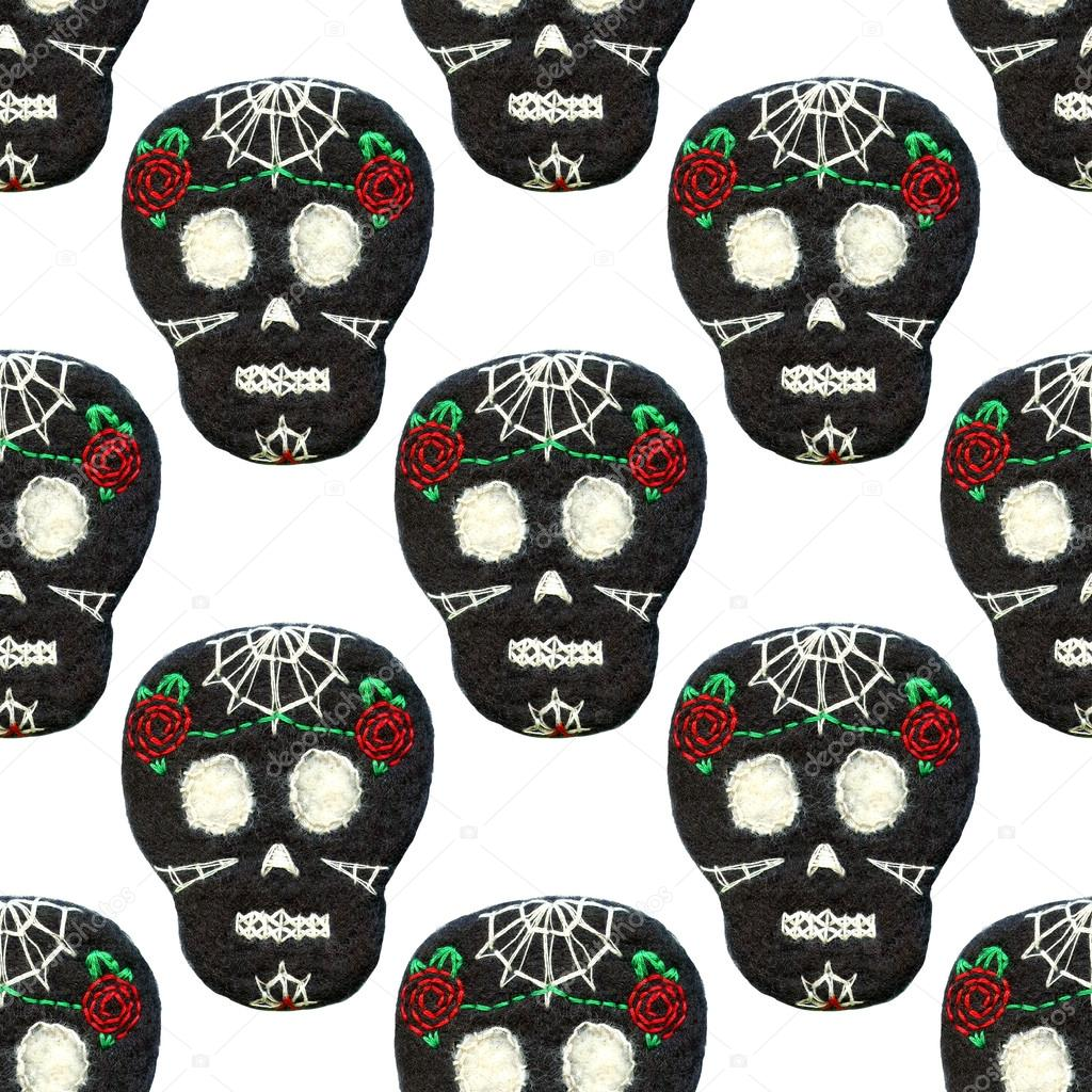 Sugar Skull Seamless Pattern With Day Of The Dead Symbol Stock