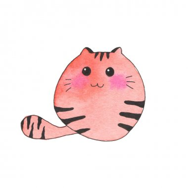 Domestic cat. Hand-drawn cartoon pet. Real watercolor drawing. Vector illustration.