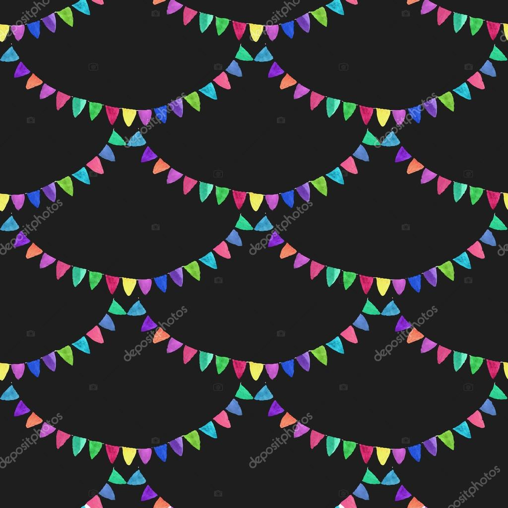 Garlands. Seamless pattern with flags. Hand-drawn background. Vector illustration.