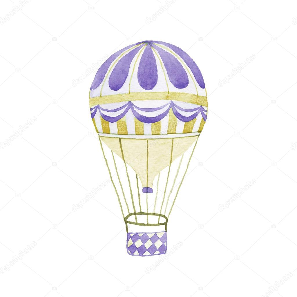 Montgolfi re hand drawn jet dessin r el aquarelle - Dessin montgolfiere ...