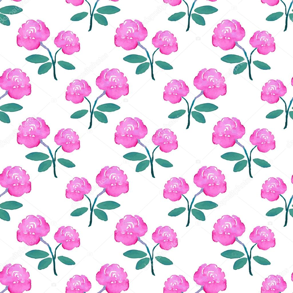 Rose. Seamless pattern with flowers. Hand-drawn background. Vector illustration.