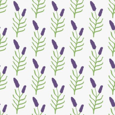 Lavender. Seamless pattern with flowers on the white background. Hand-drawn original background. Swatch inside. Vector illustration clip art vector