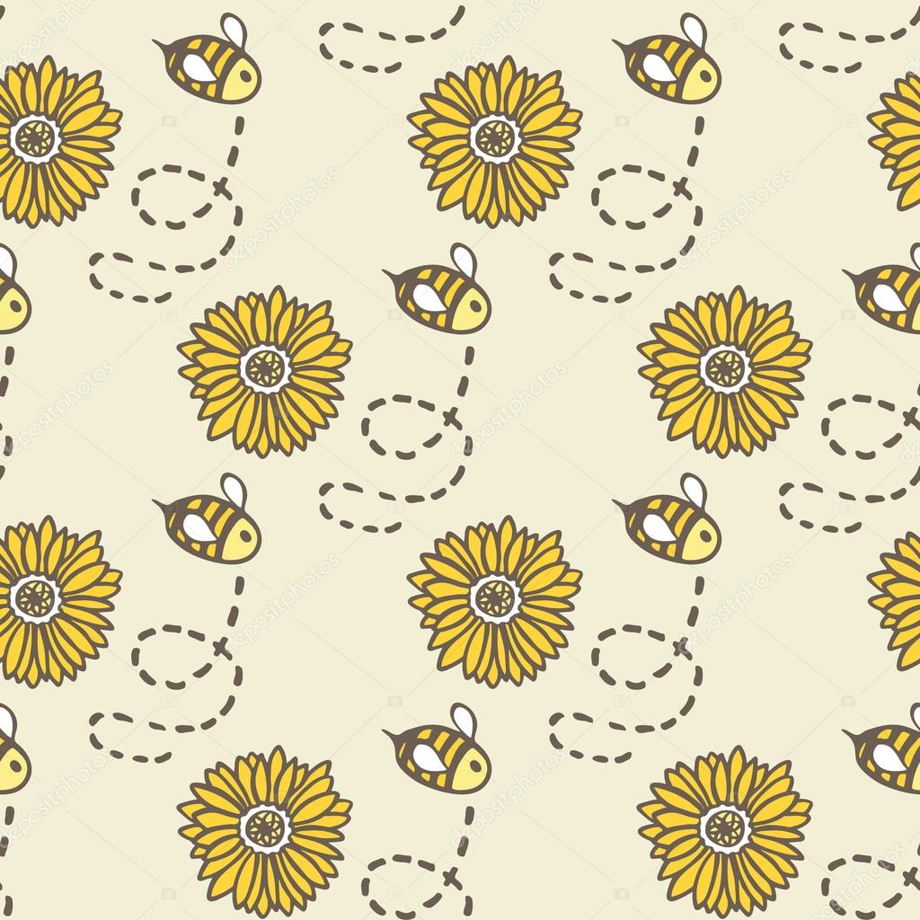 Honey bee and sunflower. Hand-drawn seamless cartoon pattern with bees and flowers. Vector illustration.