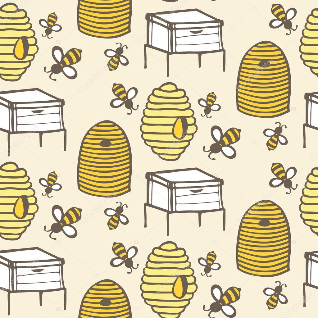 beehive and bee hand drawn seamless cartoon pattern with honey