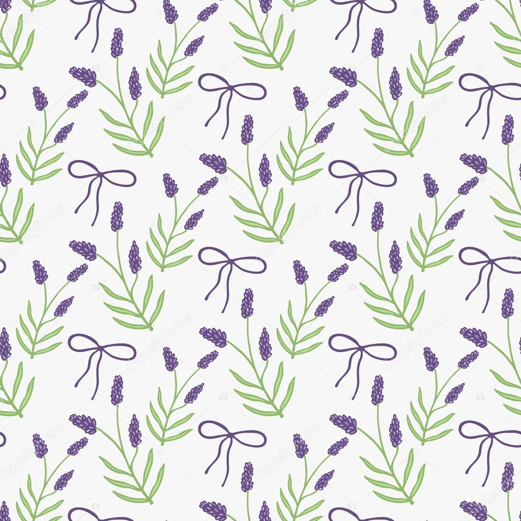 Lavender. Seamless pattern with flowers and bows on the white background. Hand-drawn original background.