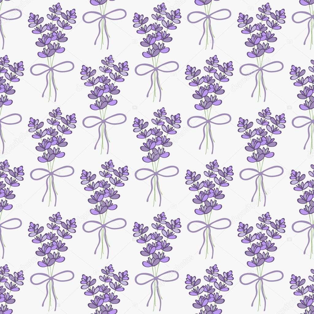 Lavender. Seamless pattern with bouquets of lavender on the white background. Hand-drawn original background.