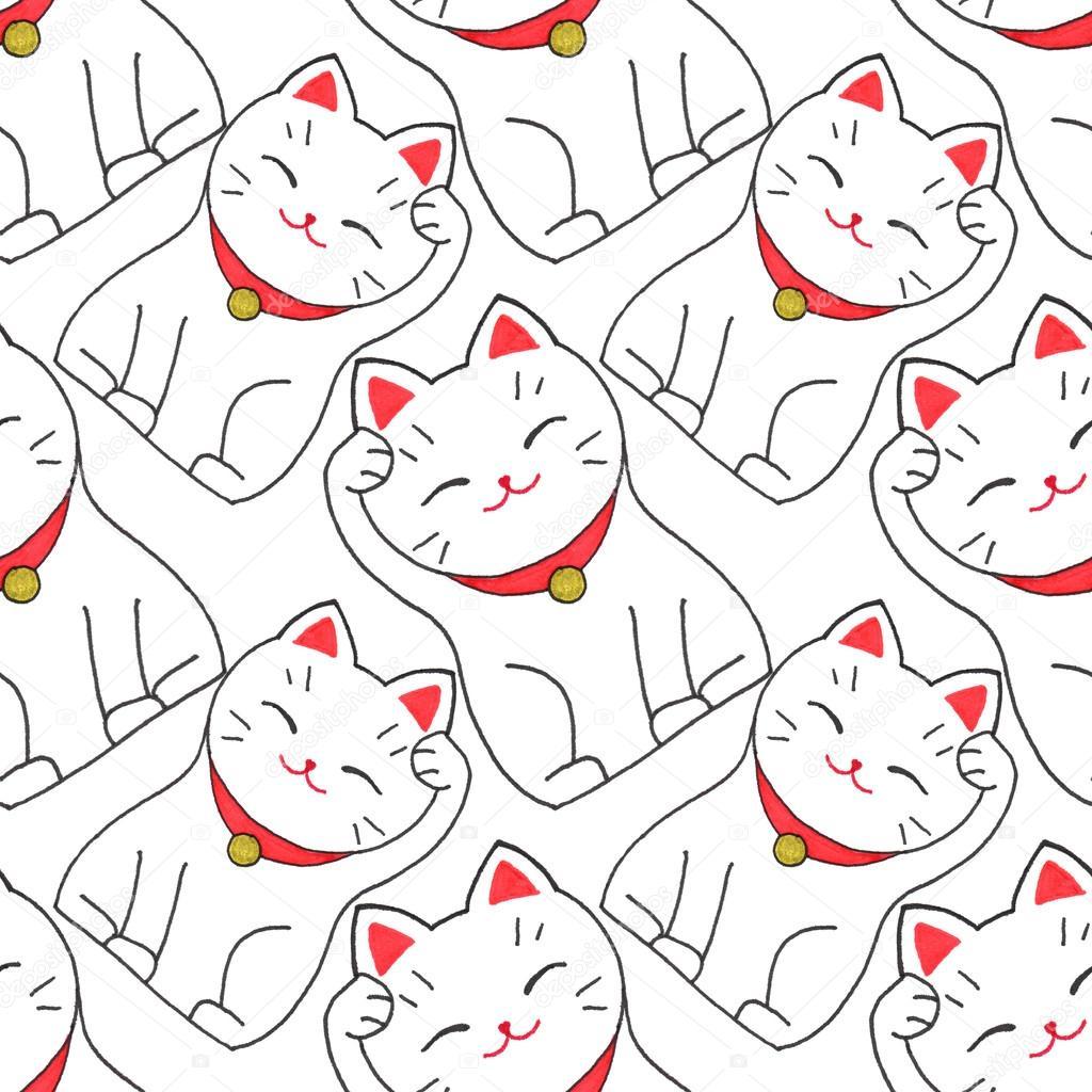 Maneki Neko Seamless Avec Japanese Chat Chanceux