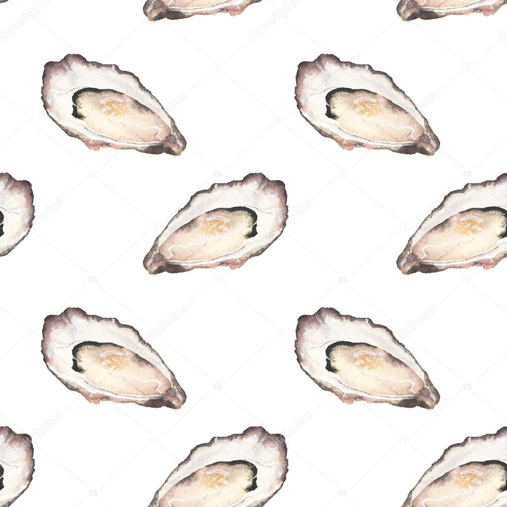 Oyster - seafood and marine cuisine. Seamless watercolor pattern with oysters