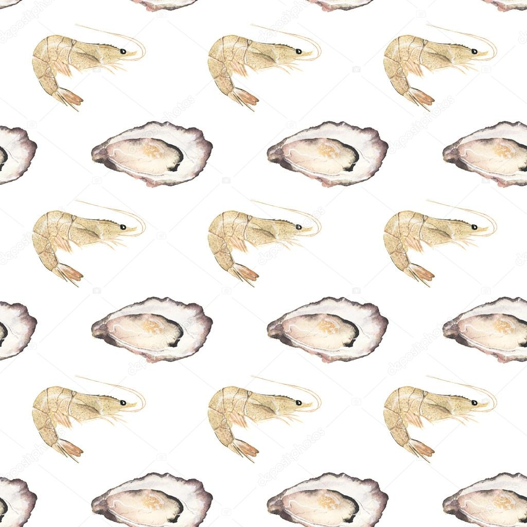 Oyster and prawn - seafood and marine cuisine. Seamless watercolor pattern with oysters and prawns