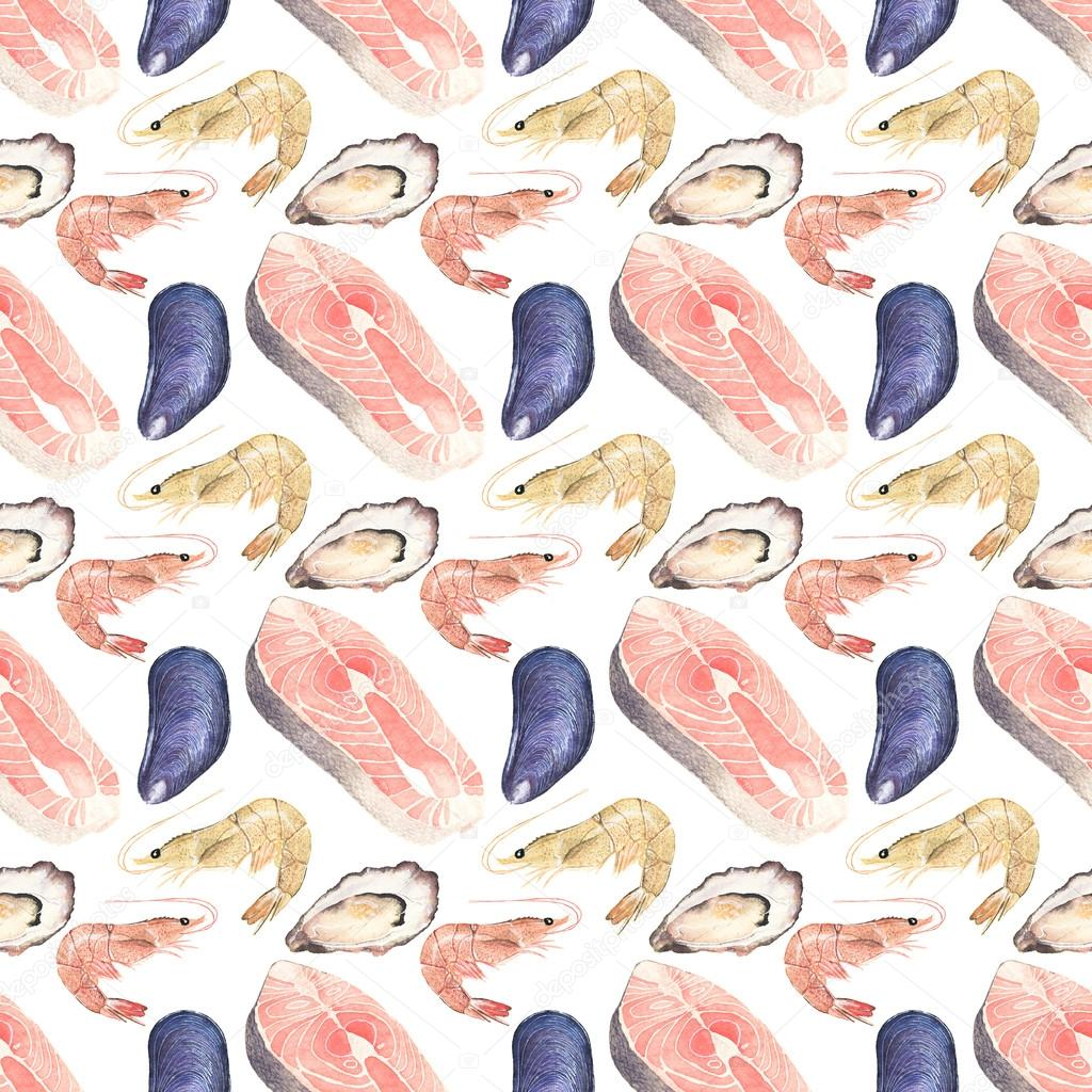 Seafood. Seamless watercolor pattern with oysters, mussels, salmon steak and sea prawn on the white background.