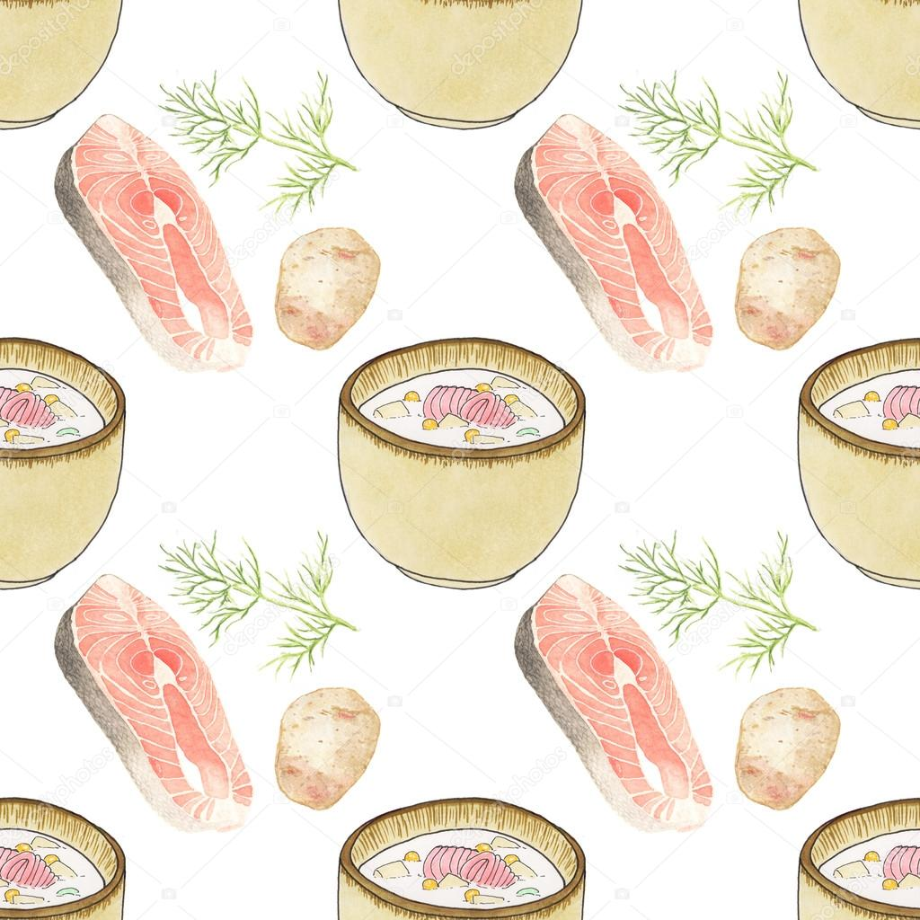 Plate of soup.  Seamless pattern with plates with soup and ingredients. Hand-drawn original background.