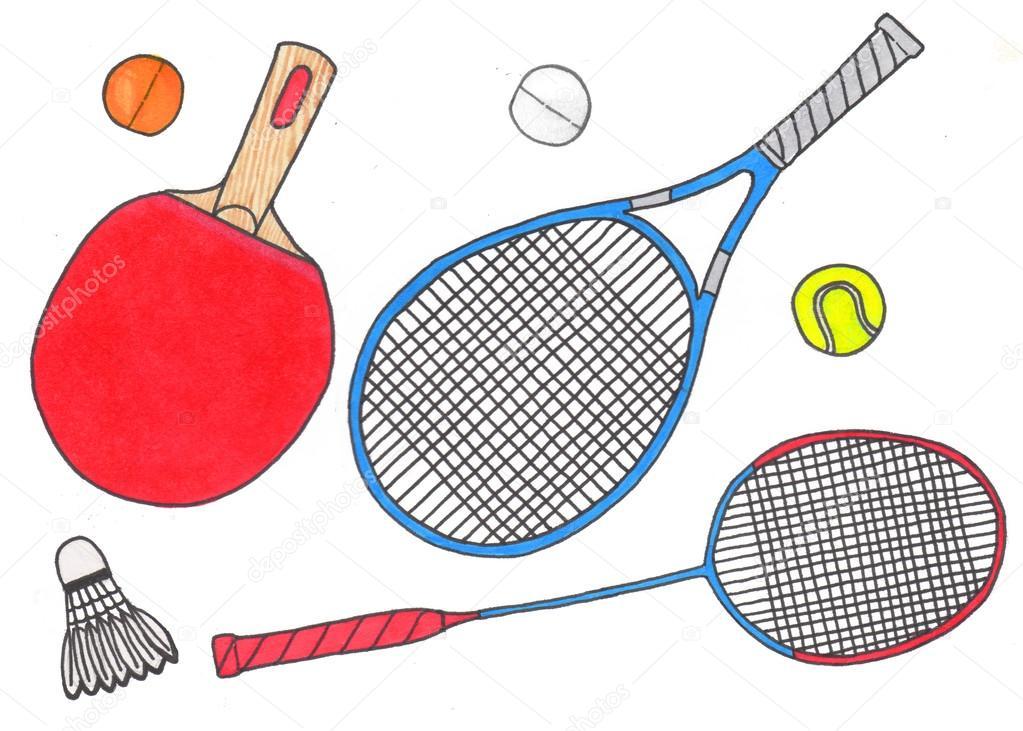 Raquettes et balles jeu de sport hand drawn badminton - Raquette dessin ...