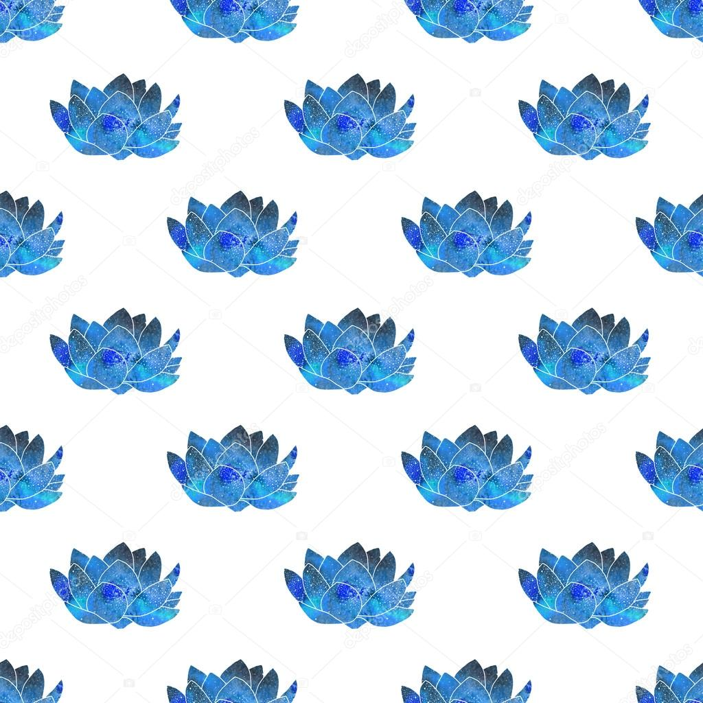 Blue lotus. Seamless pattern with cosmic or galaxy flowers. Hand-drawn original floral background.
