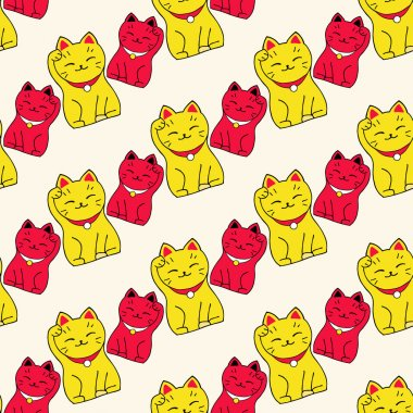 Maneki-neko cat. Seamless pattern with sitting hand drawn lucky cats. Japanese culture. Doodle drawing