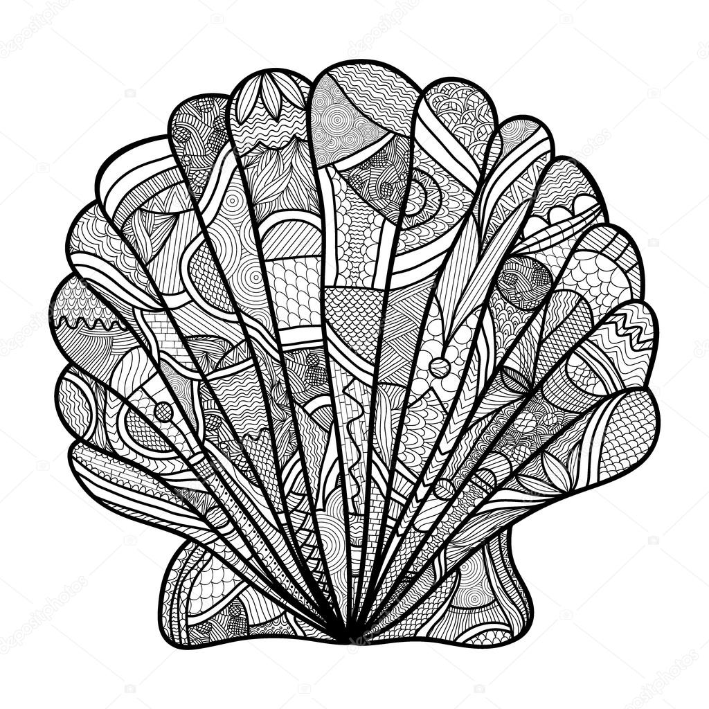Seashell. Hand drawn shell - anti stress coloring page for adult with high details isolated on white background, illustration in zentangle style.