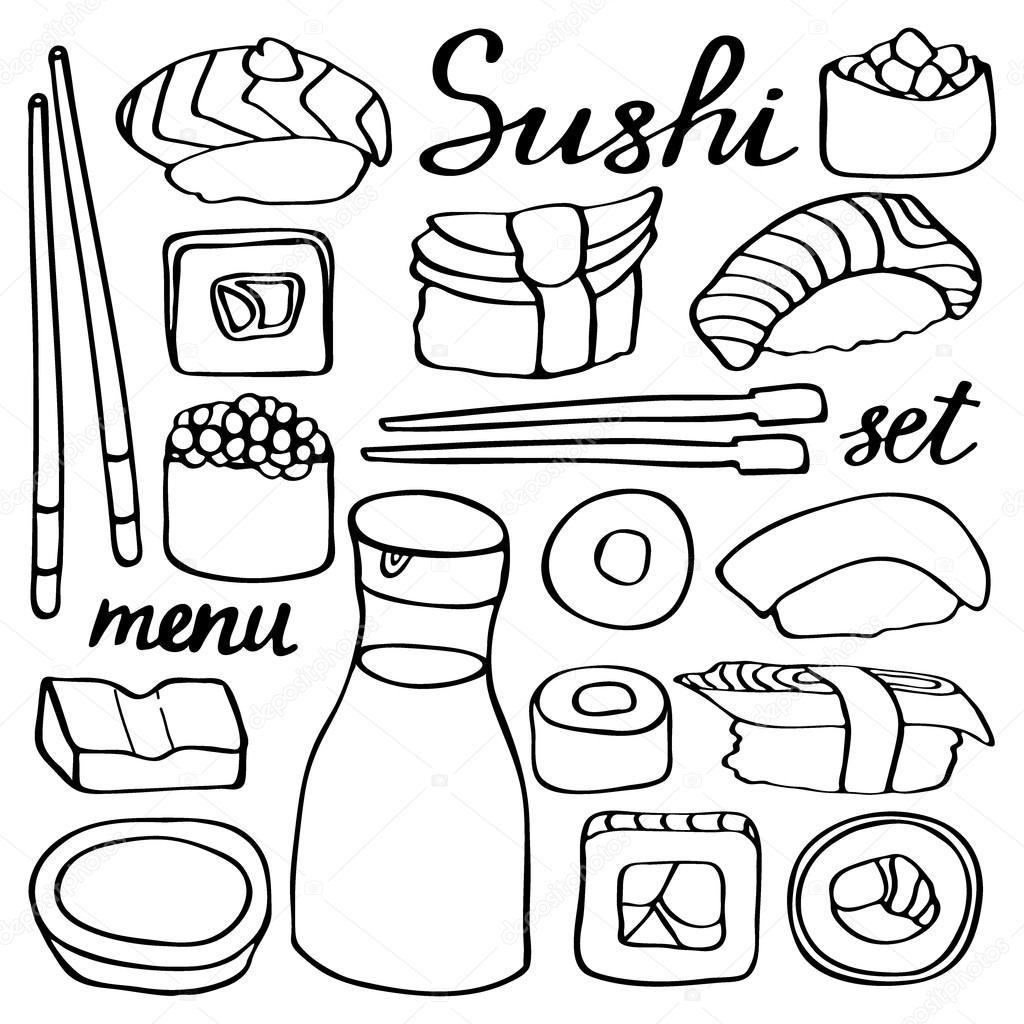 Sushi Set Kolekce Rucne Kreslene Kreslene Japonske Jidlo Doodle