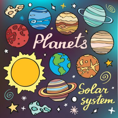 Planets set. Hand-drawn cartoon collection of solar system planets. Doodle drawing.