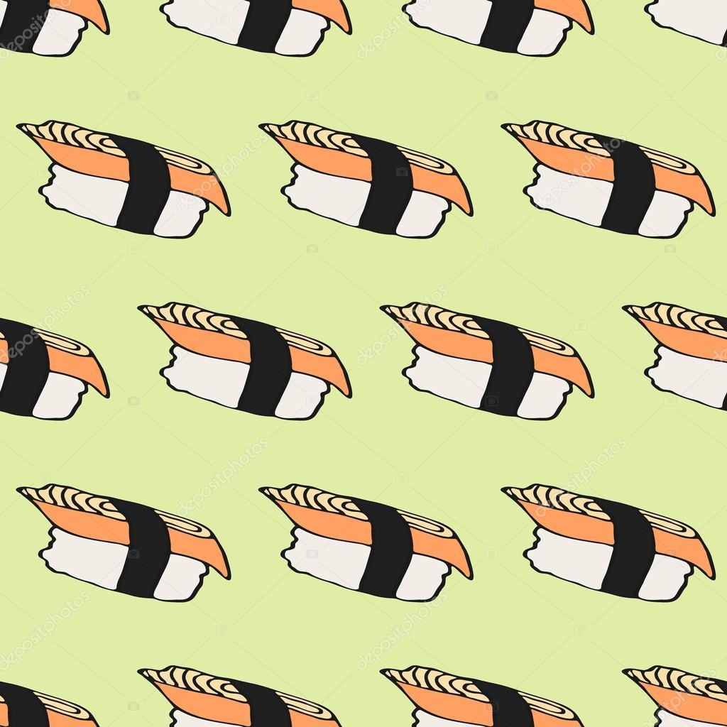 Bezesve Vzor S Rucne Kreslene Kreslene Japonske Jidlo Ikony Sushi