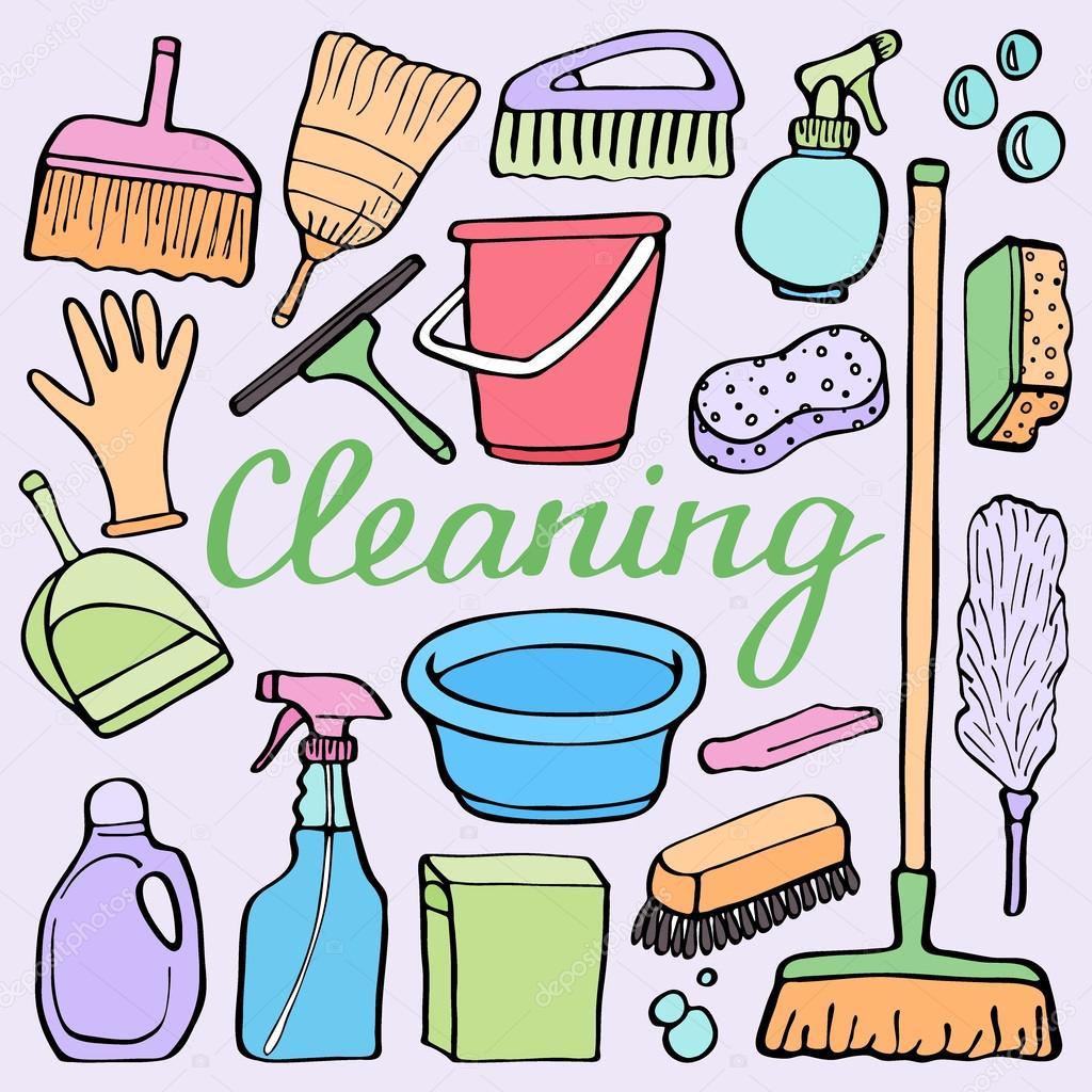 Juego de limpieza de herramientas. Dibujado a mano colección de ...