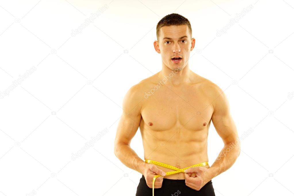 21da1d677 Homem é medida na cintura com medidor — Fotografias de Stock ...
