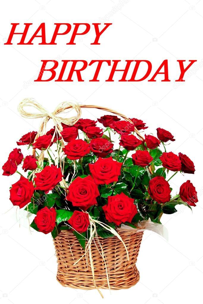 Extreem Gelukkige verjaardag met rode bloemen van rozen — Stockfoto &JO48