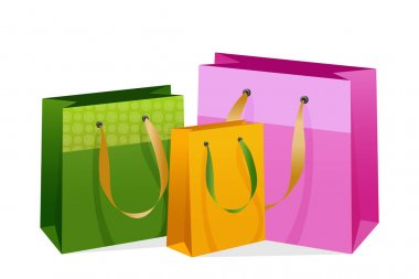 Flat shopping bags for concept design. Vector holiday illustration. Shopping concept. icon