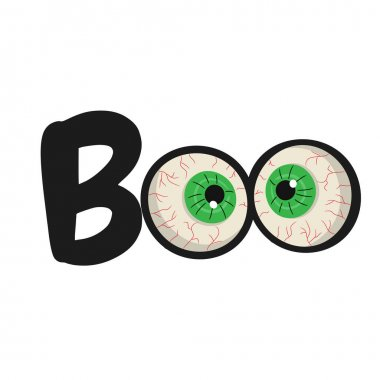 Halloween text Boo with eyes inside. Vector illustration.