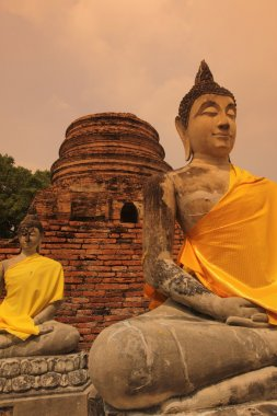 Buddha stone statues in ancient temple